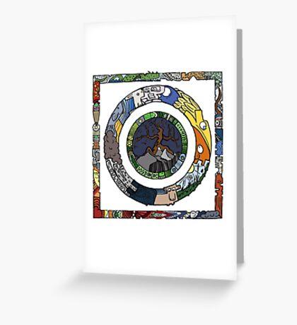 Square and Circle Mandala - COLOURED Greeting Card