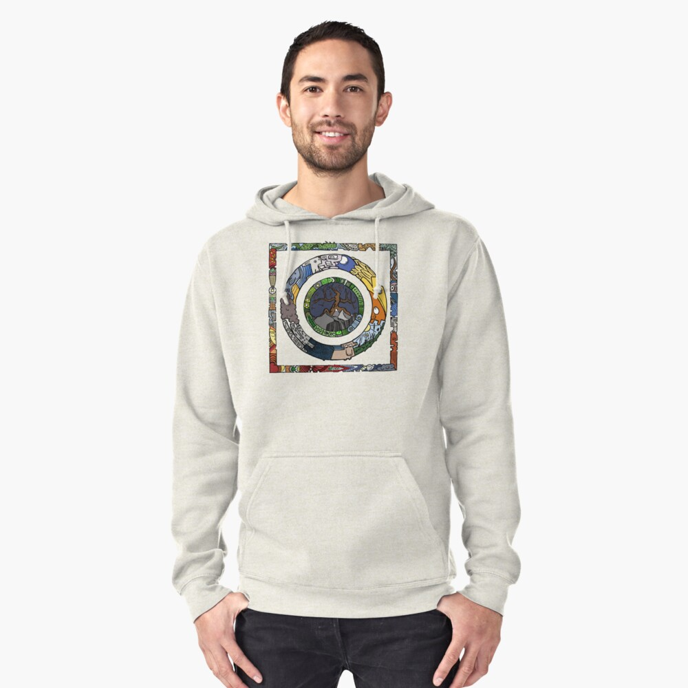 Square and Circle Mandala - COLOURED Pullover Hoodie Front