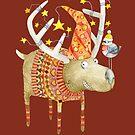 «Reno navideño en rojo» de Ruta Dumalakaite