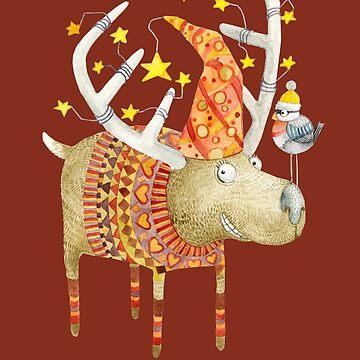 Christmas reindeer in RED by Ruta