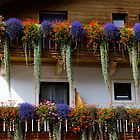 Flower arrangement on typical Tyrolean house Austria by Elzbieta Fazel