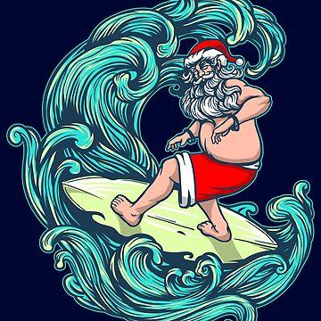 Surfer Christmas Gift Santa Surfing Surf Xmas Hawai Hawiian Chritstmas Gift  by niftee