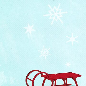 Red Sledge in the snow by MagpieMagic