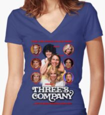 THREE'S COMPANY Come and knock on our door Women's Fitted V-Neck T-Shirt