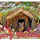 Merry christmas mice at winter log cabi n very festive card design  by Simon-dell
