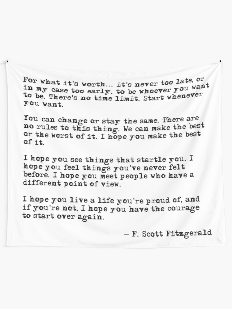 For What Its Worth F Scott Fitzgerald Quote Wall Tapestry By