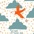 Bird flying with quote in spanish by Florcitasart