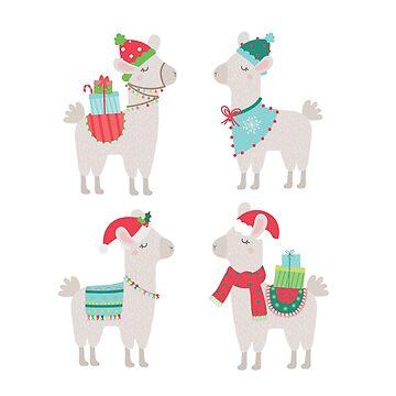 Christmas llamas by peggieprints