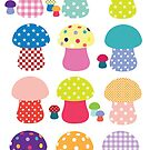 Rainbow Toadstools by CDdesignsUK