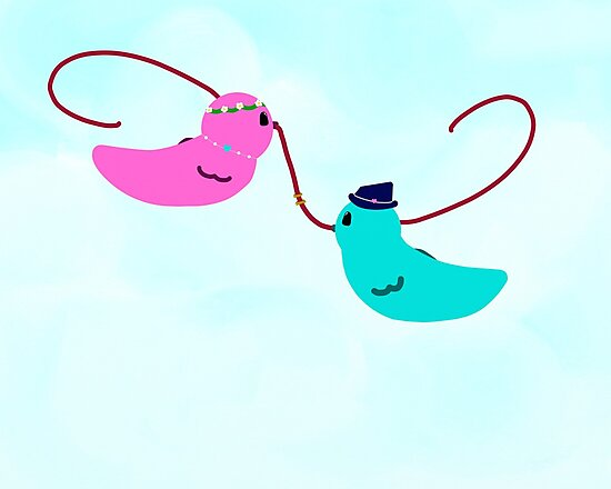 Lovebirds Holding Wedding Rings by PandLcreations