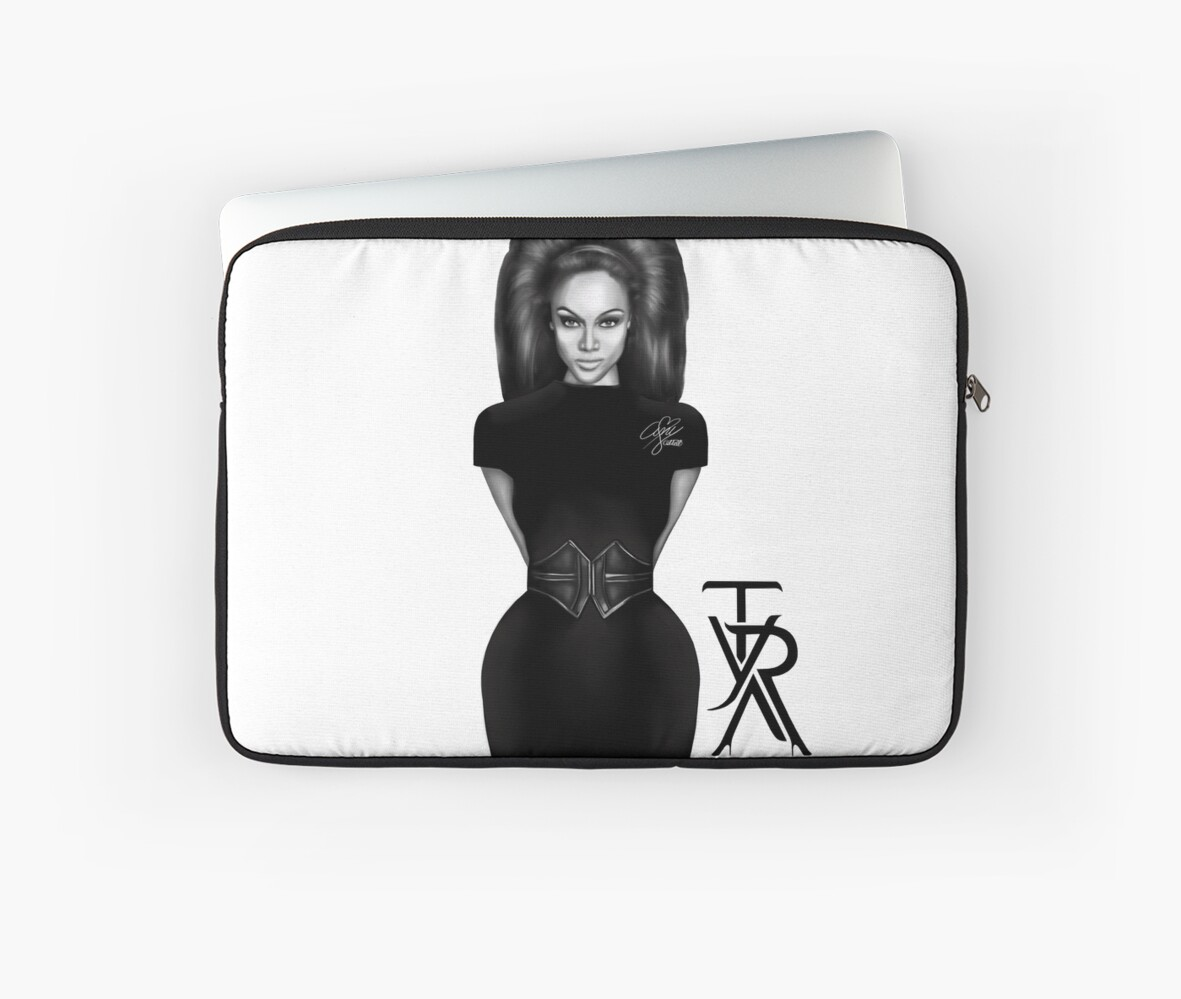 "Tyra Banks Black And White: ""Tyra Banks Black & White"" Laptop Sleeves By Amy Collett"
