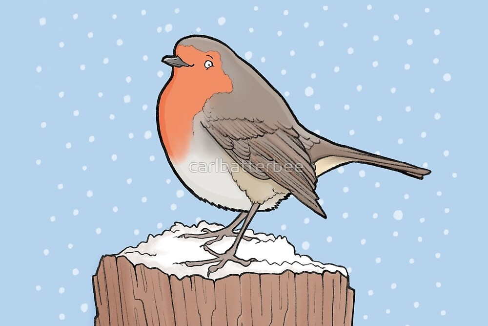 Robin in the Snow by carlbatterbee