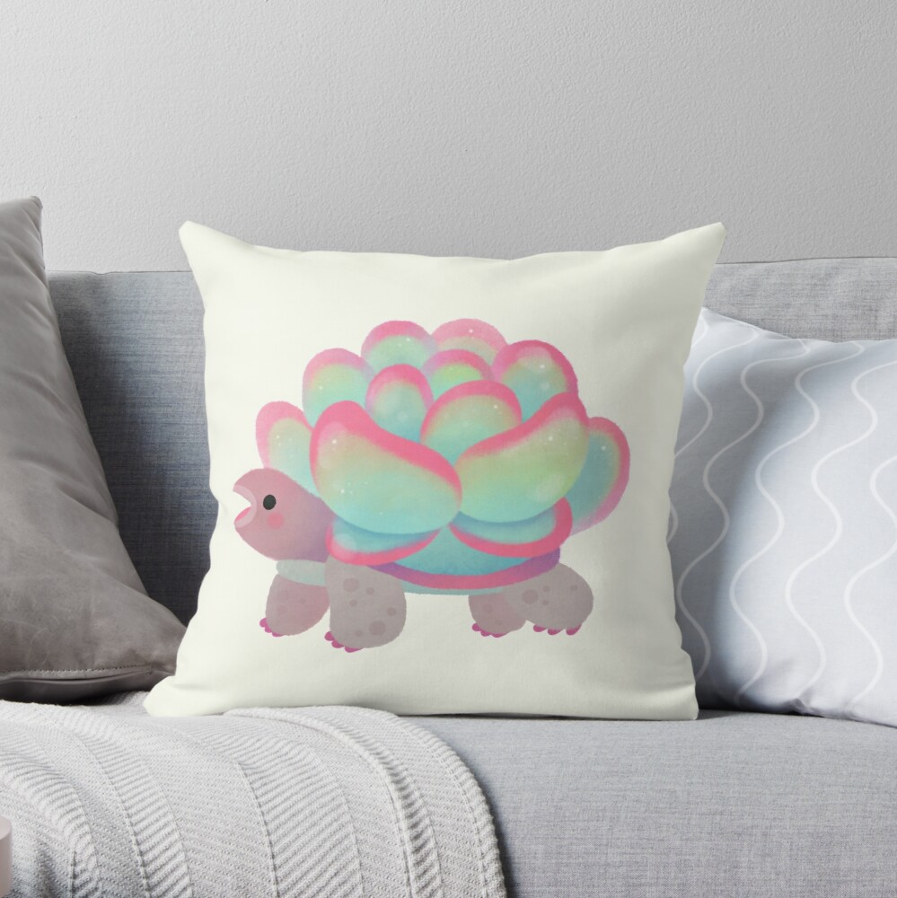 Cactus tortoise Throw Pillow