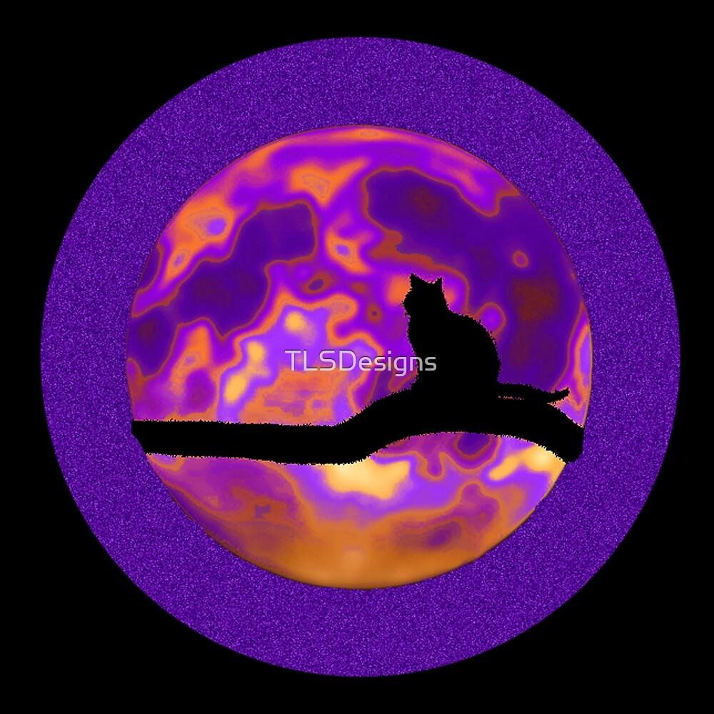 Black Cat Purple Moon Planet by TLSDesigns
