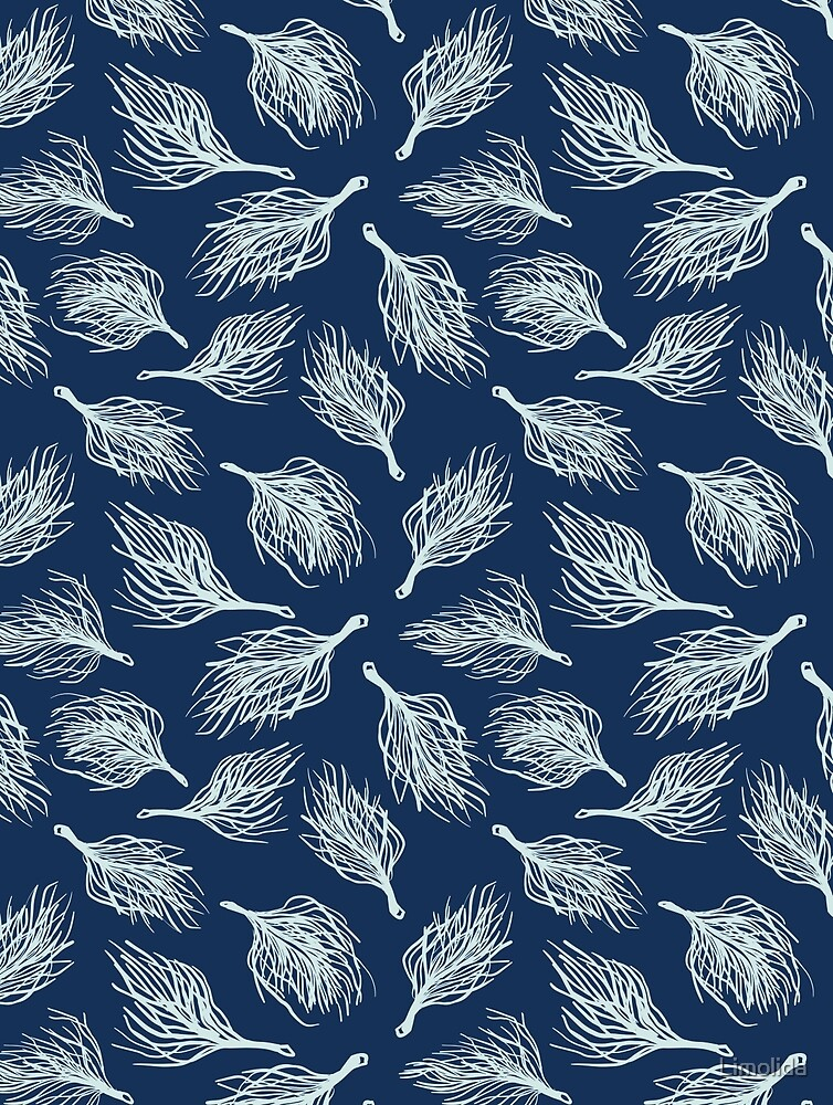 Soft Ostrich Feather Japanese Hand Stitch Indigo Blue by Limolida