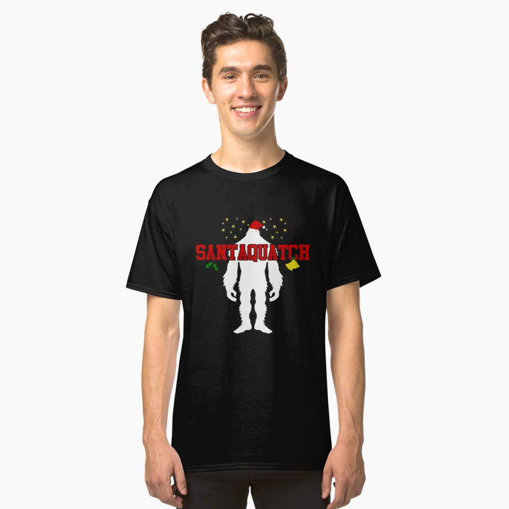Santaquatch Bigfoot Silhouette Christmas Holiday T-Shirt Classic T-Shirt Front
