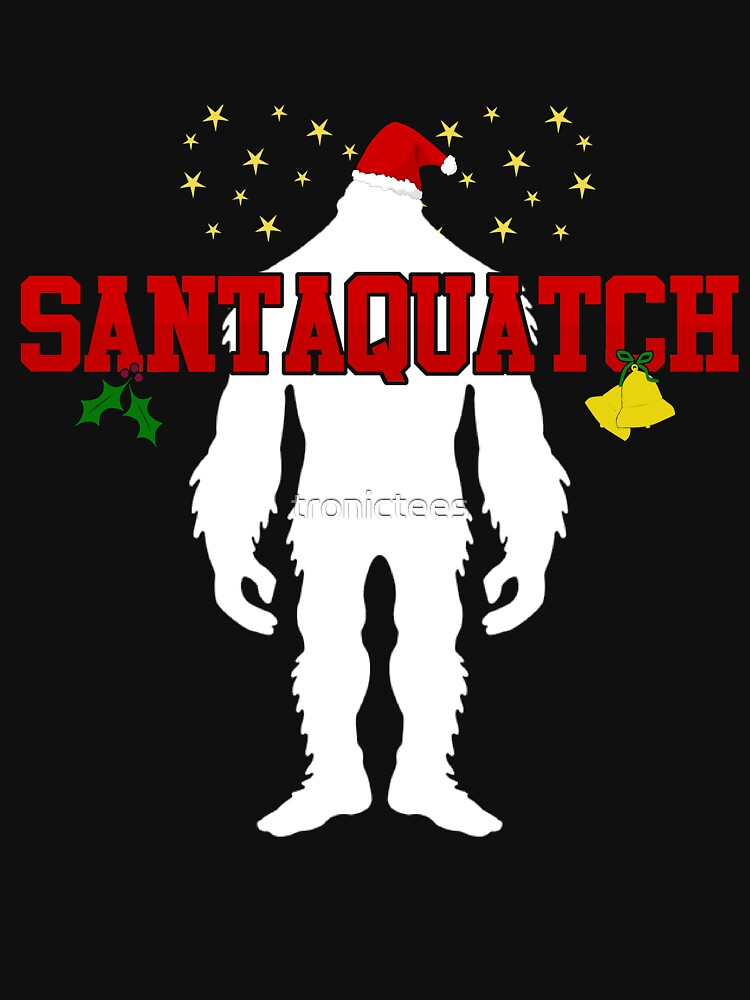 Santaquatch Bigfoot Silhouette Christmas Holiday T-Shirt by tronictees