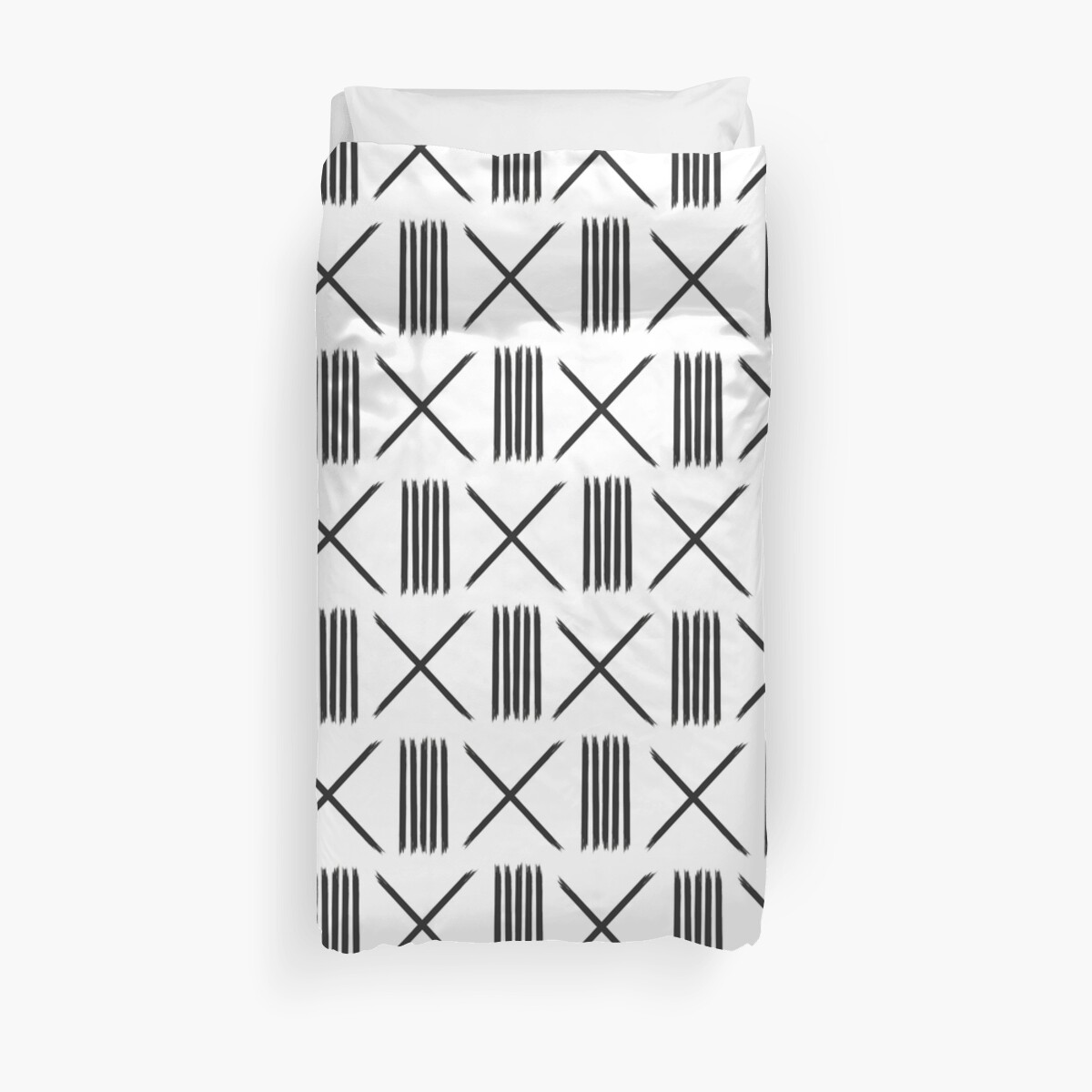 Mudcloth xs and lines on ivory by hellcom
