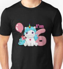 Unicorn Birthday I Am 6 Gift T Shirt Unisex