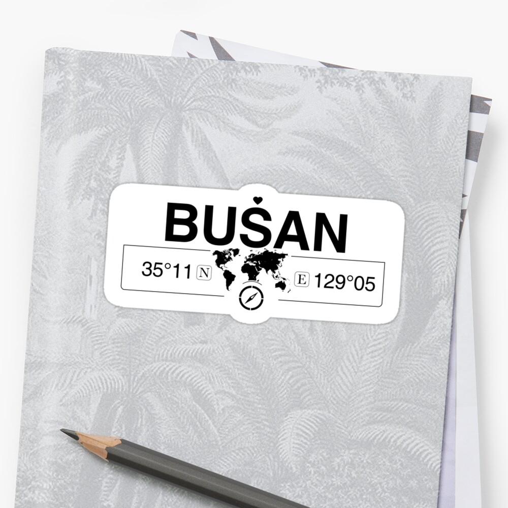 Busan South Korea with World Map GPS Coordinates and Compass   by Map-Your-World
