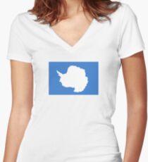 Flag of Antarctica  Women's Fitted V-Neck T-Shirt