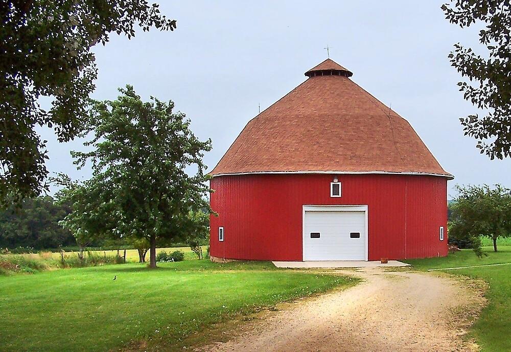 Round Red Barn by Nadya Johnson