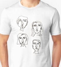Eine Linie Gesichter Unisex T-Shirt