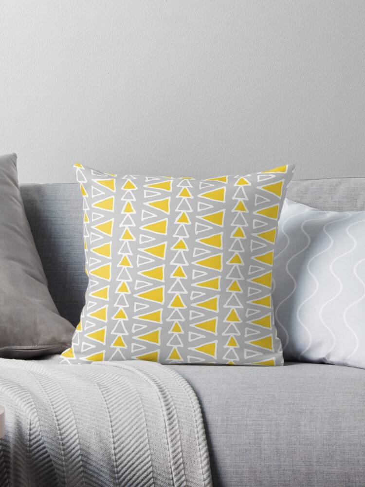 Grey White Mustard Yellow Triangles Pattern by dreamingmind
