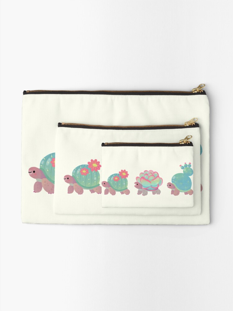 Alternate view of Cactus tortoise Zipper Pouch