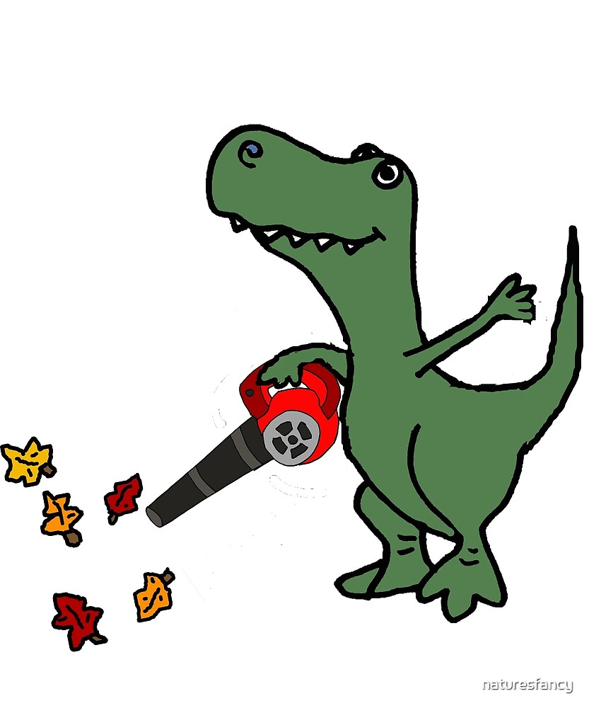 Funny T-rex Dinosaur Blowing Leaves by naturesfancy