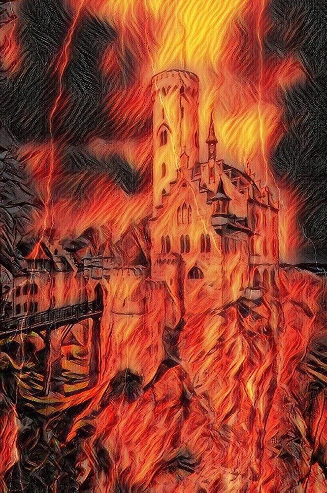 Medieval Castle in Flames by RonD58