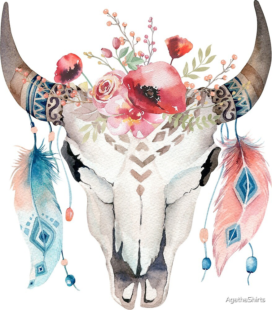 Animal Skull with feathers and flowers. by AgathaShirts