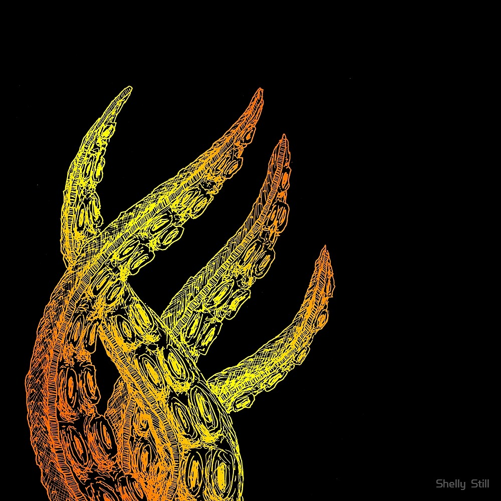 Fire Woodcut Style Cthulhu Octopus Tentacles on Black Background by Shelly Still