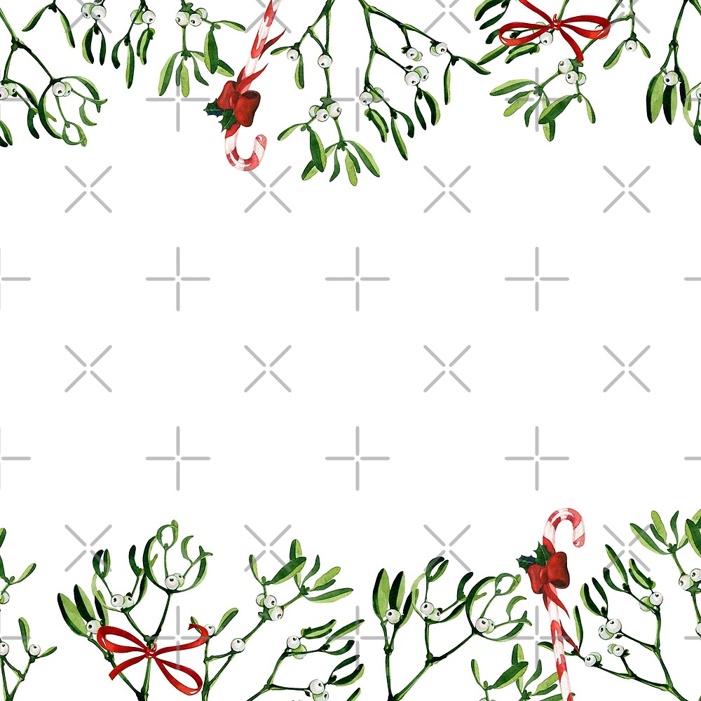 Watercolor Christmas illustration with mistletoe and red candy cane. by annaveroniq