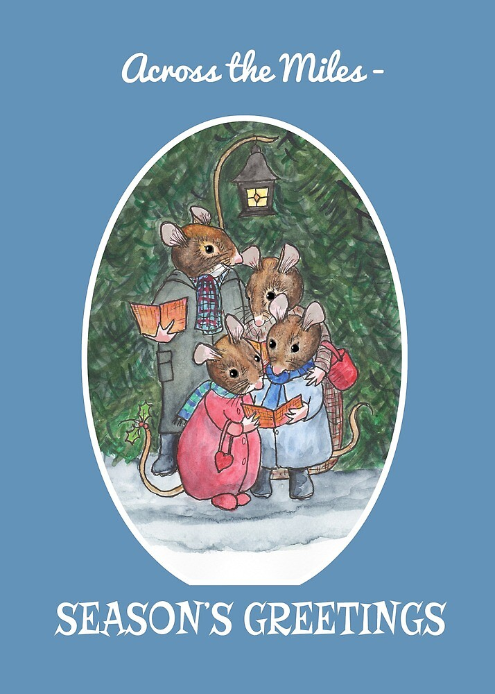 Season's Greetings Cute Mouse Family Carol-Singers  by Judy Adamson