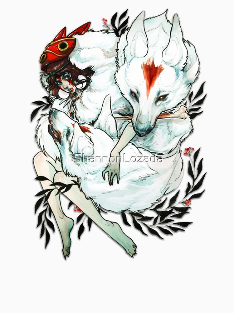 Princess Mononoke Wolf Wolves Drawing by ShannonLozada