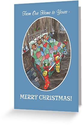 Christmas Stockings Cute Wood-Mice by Judy Adamson