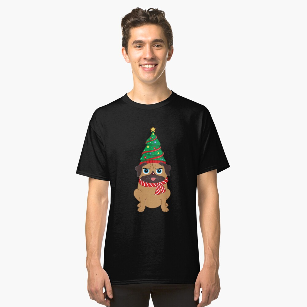 Cute Decorated Christmas Tree Snuggle Pug Holiday Design Classic T-Shirt Front