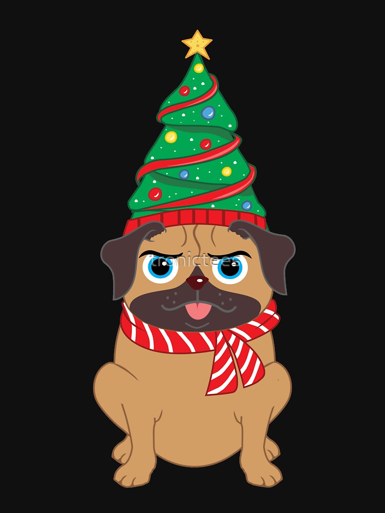 Cute Decorated Christmas Tree Snuggle Pug Holiday Design by tronictees