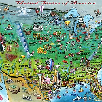 USA Cartoon Map by kevinmiddleton