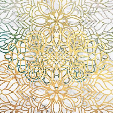 Floral Mandala in Gold and Blue by cadinera