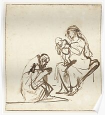 Drawing - One of the three Kings adoring Mary and the Child, Rembrandt Harmensz. van Rijn, 1635 - 1639  Poster