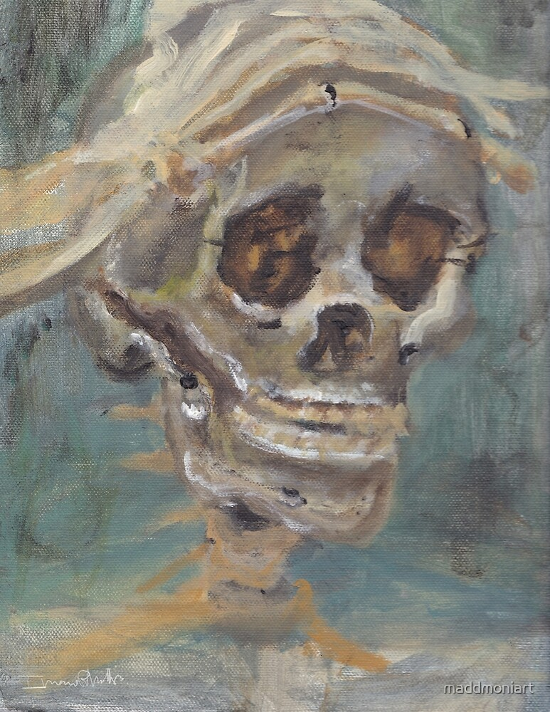 Stress - Skull Painting by MaddMoniArt by maddmoniart