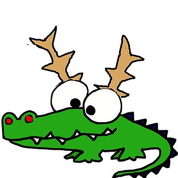 Funny Alligator with Reindeer Antlers Christmas by naturesfancy
