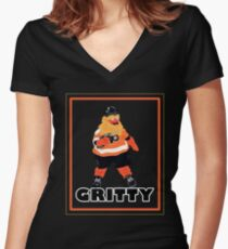 Everybody loves Gritty, new mascot of the Flyers Women's Fitted V-Neck T-Shirt