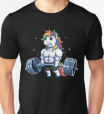 Unicorn Weightlifting T shirt Fitness Gym Deadlift Rainbow Gifts Party Men Women Slim Fit T-Shirt