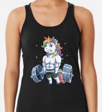 Einhorn Gewichtheben T-shirt Fitness Gym Deadlift Regenbogen Geschenke Party Männer Frauen Racerback Tank Top