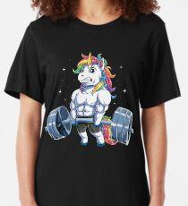 Unicorn Weightlifting T shirt Fitness Gym Deadlift Rainbow Gifts Party Men Women Slim Fit T-Shirt