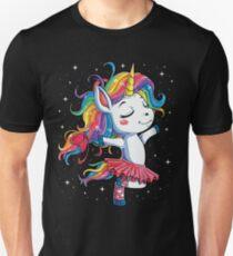 Ballet Dancer Unicorn T shirt Kids Girls Rainbow Ballerina Gifts Party Men Women Slim Fit T-Shirt
