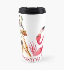 Party Time Freaking Lit Giraffe and Flamingo  Travel Mug
